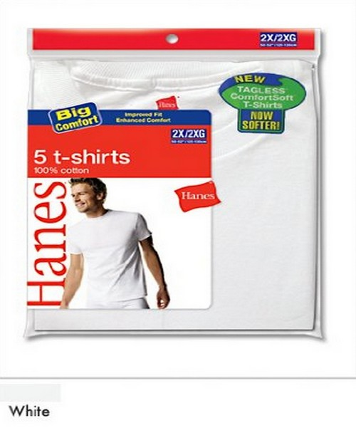 Hanes 2135P5B Mens White Crew Neck T-Shirt (Pack of 5)