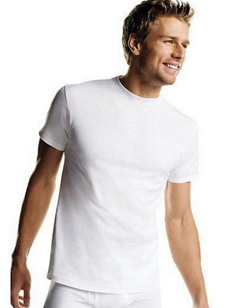 Hanes 2135P6 Mens White TAGLESS Crewneck Undershirt