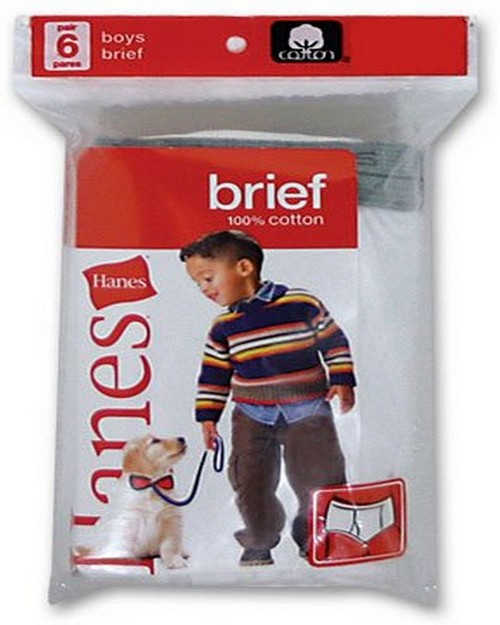 Hanes 249TBU Toddlers Red Label White Brief (Pack of 6)