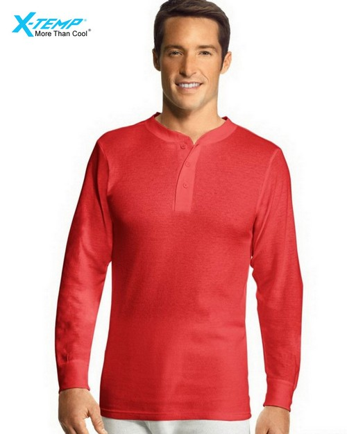 Hanes 25440 Mens X-Temp Thermal Henley