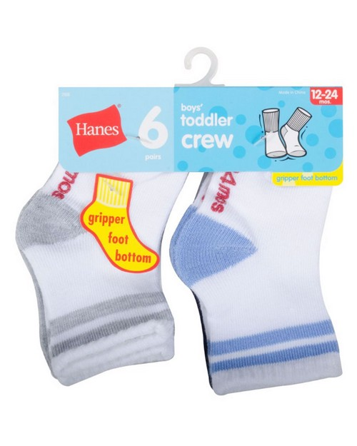 Hanes 26T6 Infant Boys Crew Socks 6-Pack