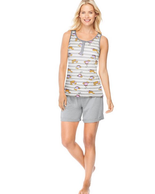 Hanes 28998 Ultimate Womens Henley Tank/Shorts Sleep Set