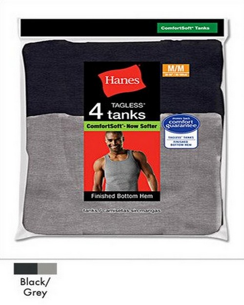 Hanes 392P4 Dyed Tank (Bk/Gry)
