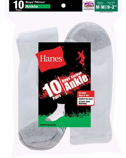 Hanes 422 Boys Cushion Ankle Socks (Pack of 10)