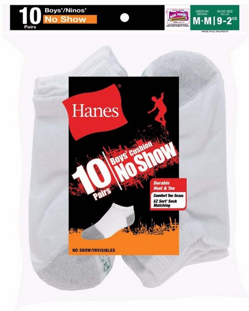 Hanes 424 Ez-Sort Boys No-Show Socks 11-Pack (Includes 1 Free Bonus Pair)