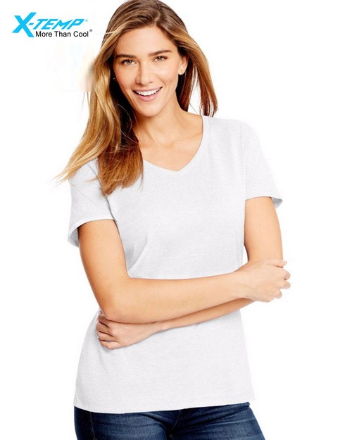 Hanes 42VT X-Temp Womens V-Neck Tri-Blend Tee
