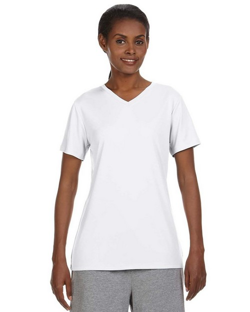 Hanes 483V Ladies Cool Dri V Neck T Shirt