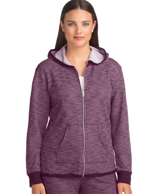 Hanes 4A03 Womens French Terry High Low Zip Hoodie