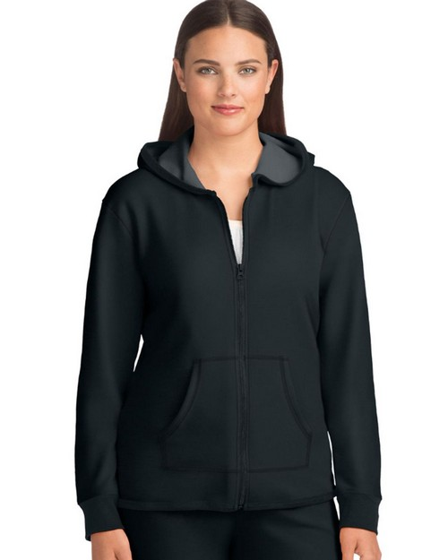 Hanes 4B01 Womens French Terry High Low Zip Hoodie