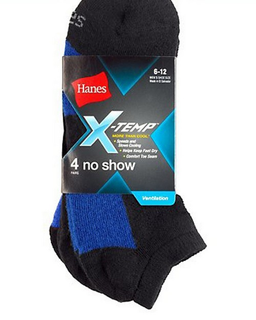 Hanes 512 Mens X Temp Ventilation No Show Socks 4 Pack