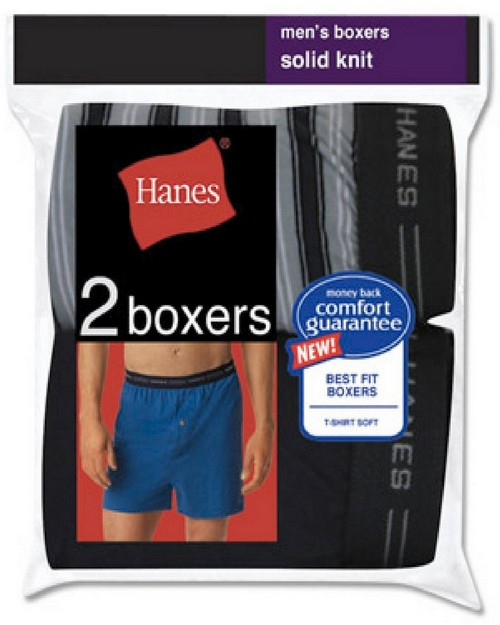 Hanes 548KP2 RL Mens Exposed Waistband Knit Boxer (Pack of 2)