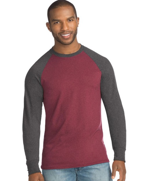 Hanes 5A19 Mens X-Temp Fresh IQ Crewneck Long Sleeve Colorblock T-Shirt