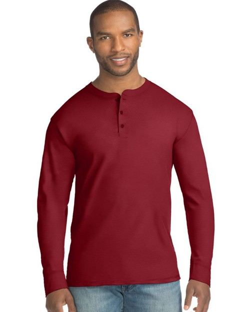 Hanes 5A40 Mens X-Temp Fresh IQ Long Sleeve Henley T-Shirt