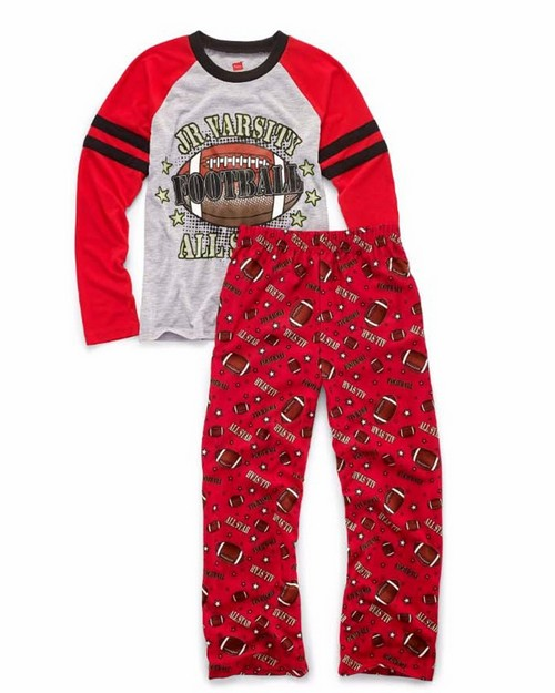 Hanes 6019c Boys Sleepwear 2-Piece Set, Jv All-Star Print