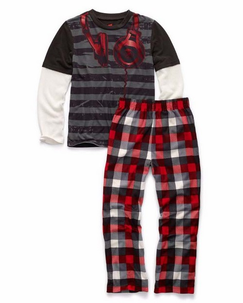 Hanes 6019f Boys Sleepwear 2-Piece Set, Headphones Print