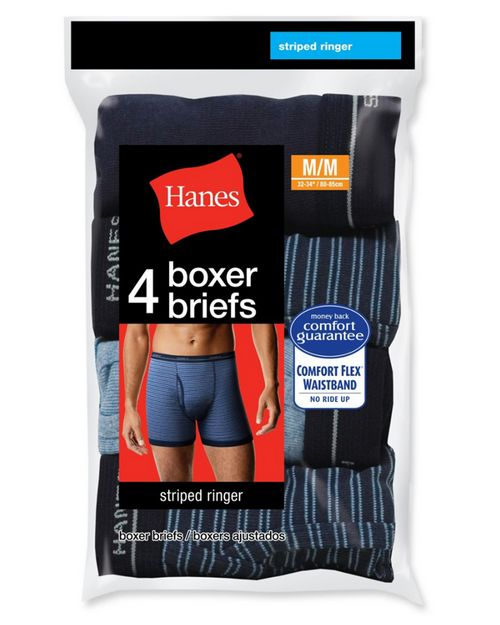 Hanes 7347P4 Exposed Elastic Stripped Ringer Boxer Brief