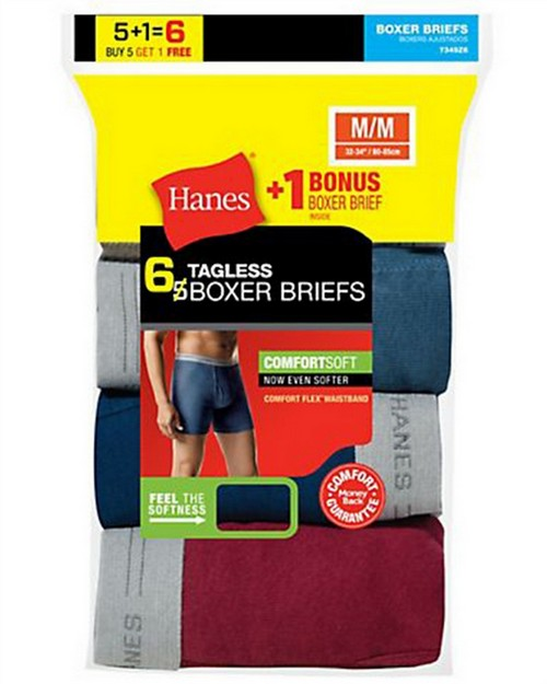 Hanes 7349Z6 Mens TAGLESS Boxer Brief with Comfort Flex Waistband 6-Pack (Includes 1 Free Bonus Boxer Brief)