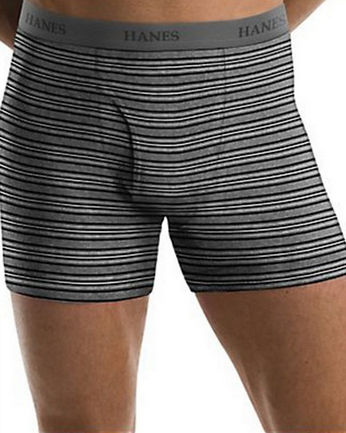 Hanes 76925S Mens TAGLESS Ultimate Fashion Stripe Boxer Briefs with Comfort Flex Waistband 5-Pack