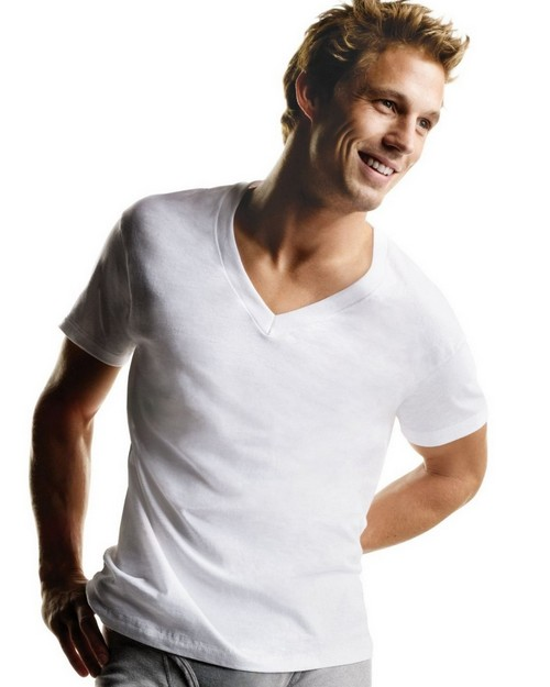 Hanes 777P5B Mens White V Neck T (Pack of 5)