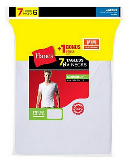 Hanes 777VG7 Mens TAGLESS V-Neck Undershirt 7-Pack (Includes 1 Free Bonus V-Neck)