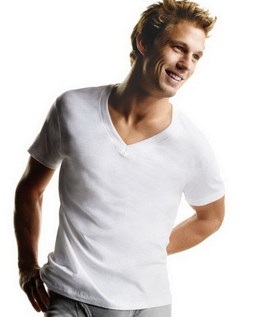 Hanes 777VP6 Mens V Neck Undershirt 6 Pack
