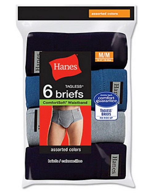 Hanes 7820N6 Mens No Ride Up Briefs (Pack of 6)