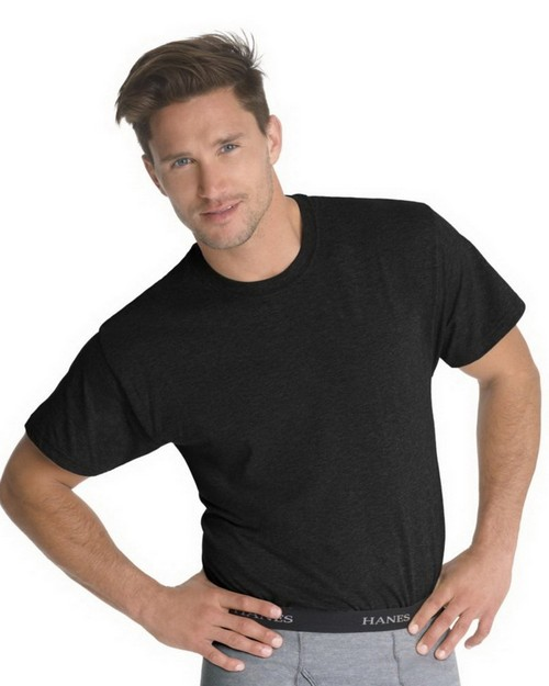 Hanes 7873B3 Classics Mens Traditional Fit ComfortSoft Dyed Black Crewneck Undershirt 3-Pack