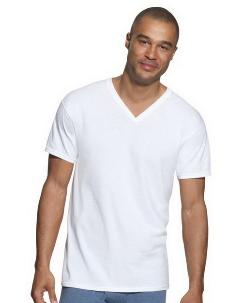 Hanes 7880W3 Classics Mens Traditional Fit ComfortSoft V Neck Undershirt 3 Pack