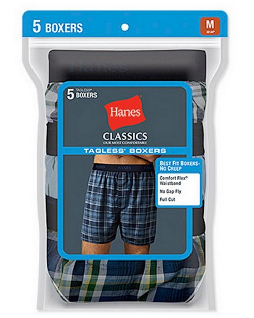 Hanes 798BP5 Classic Mens Yarn Dyed Exposed Waistband Boxer (Pack of 5)