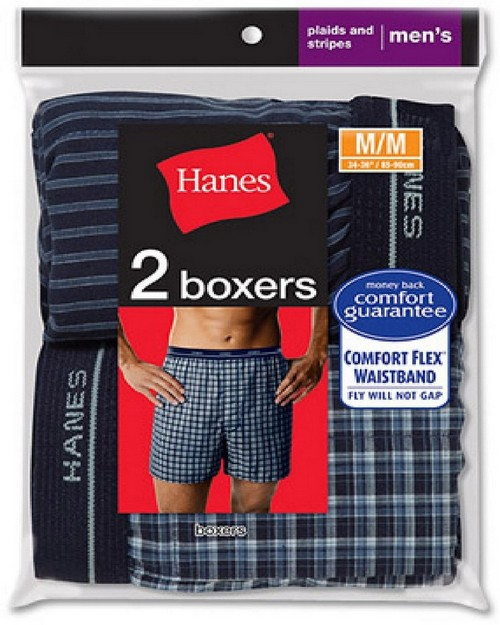 Hanes 838VTY Men's Red Label Tartan Boxer (Pack of 2)