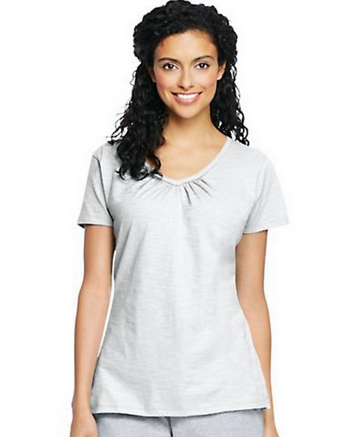 Hanes 9253 Womens Slub Jersey Shirred V-Neck