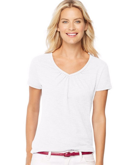 Hanes 9333 Womens Short-Sleeve Shirred V-Neck Tee