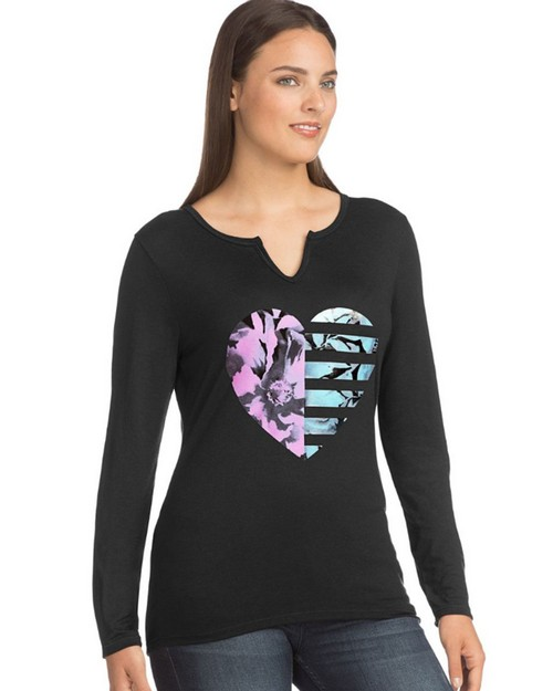 Hanes 9362 Womens Long-Sleeve Split Neck Graphic T-Shirt