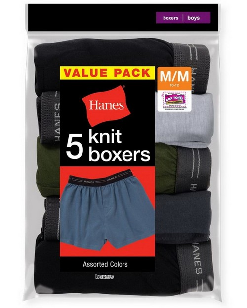 Hanes B539P5 Boys Exposed Elastic Knit Boxer (Pack of 5)