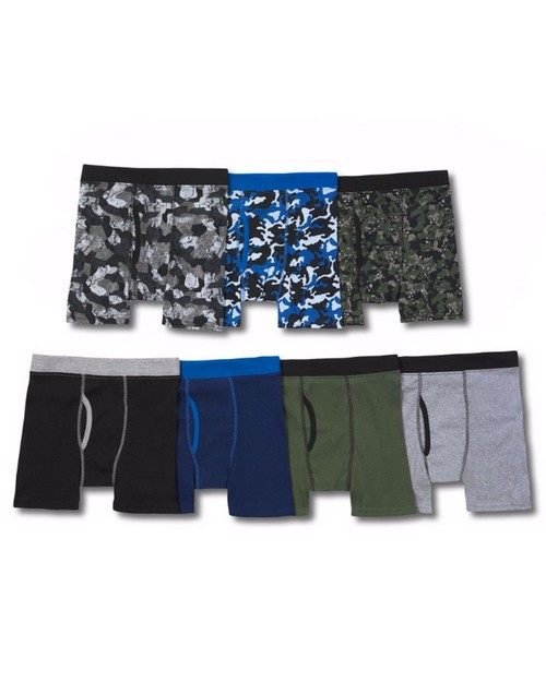Hanes B75PW7 Boys ComfortSoft Dyed Waistband Boxer Briefs 7-Pack