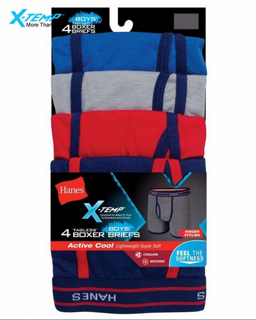 Hanes Bx6rp4 X-Temp Boys Ringer Boxer Brief With Comfort Flex Waistband 4-Pack