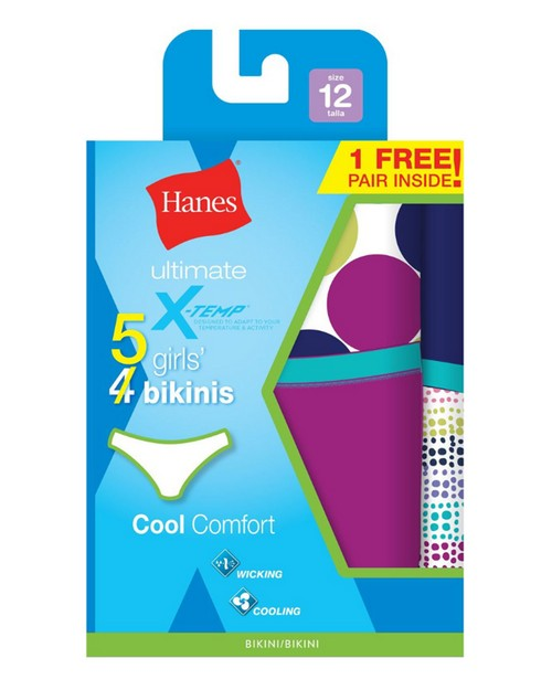 Hanes GUBKP5 Girls Ultimate X-Temp Bikini Pack of 4 +1 Bonus Pack