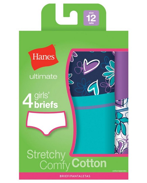 Hanes GUCBP4 Ultimate Tagless Cotton Stretch Girls Briefs 4-Pack