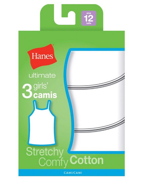 Hanes GURBCM Ultimate Tagless Cotton Stretch Girls Cami White 3-Pack