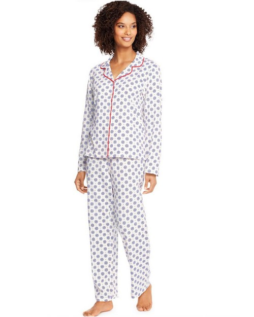 Hanes HAC80116X Womens Knit Notched Collar Plus PJ Set