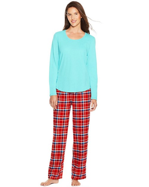 Hanes HAC80128 Womens Long Sleeve Faux Henley Tee & Flannel Pants Sleep Set