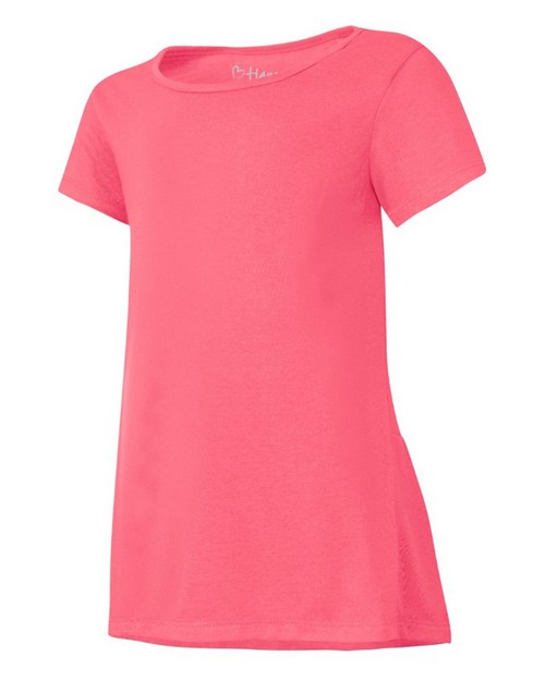 Hanes HNK294 Girls Peplum Short Sleeve T-Shirt