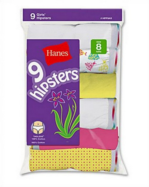 Hanes HPP9AS Girls Hipster Bright Assorted (Pack of 9)