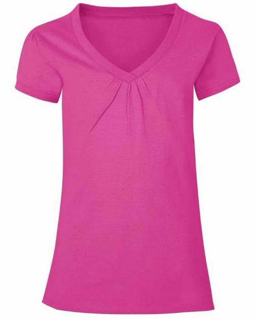 Hanes K046 Girls Shirred V-Neck Tee