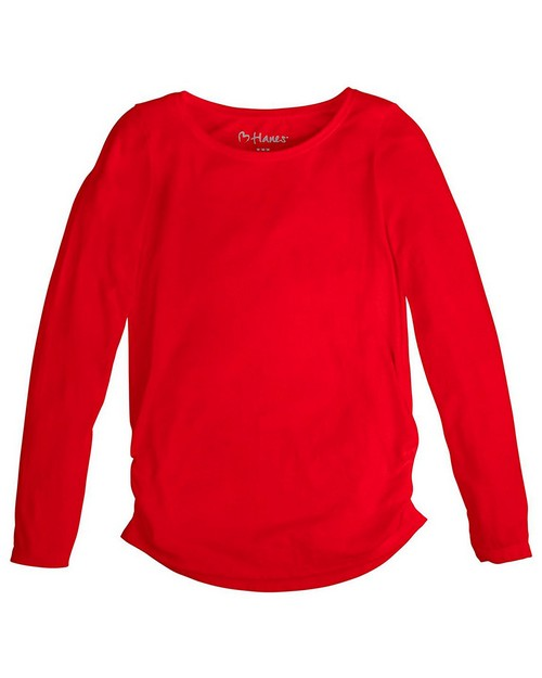 Hanes K359 Girls Shirred Sideseam Long Sleeves Tee