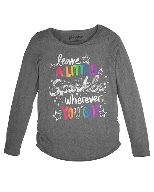 Hanes K368 Girls Brushy Phrase Shirred Sideseam Long Sleeves Tee