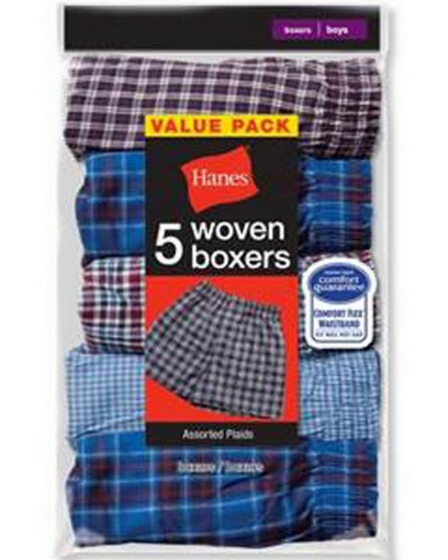 Hanes MFWBX5 Mens Covered Waistband Woven Plaid Boxer (Pack of 5)