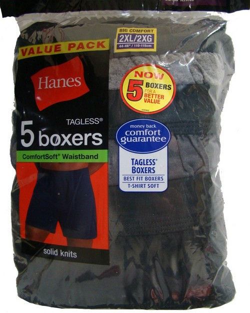 Hanes MKCBX5B Mens TAGLESS ComfortSoft Knit Boxers with ComfortSoft Waistband 2X (Pack of 5)