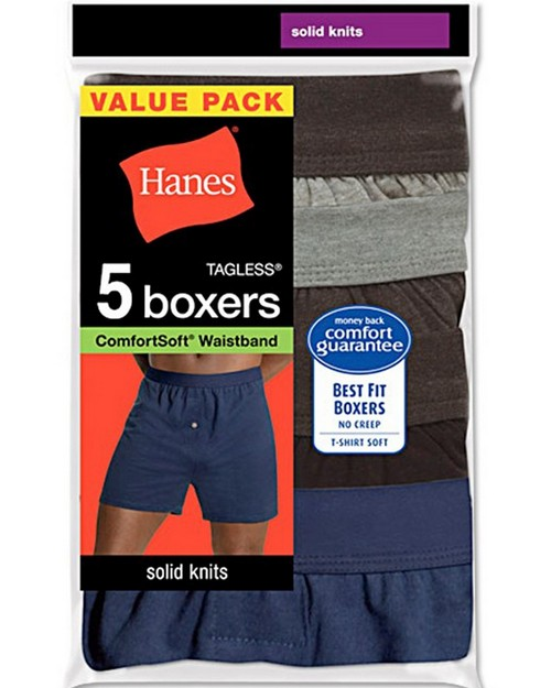 Hanes MKCBX5 Mens TAGLESS ComfortSoft Knit Boxers (Pack of 5)