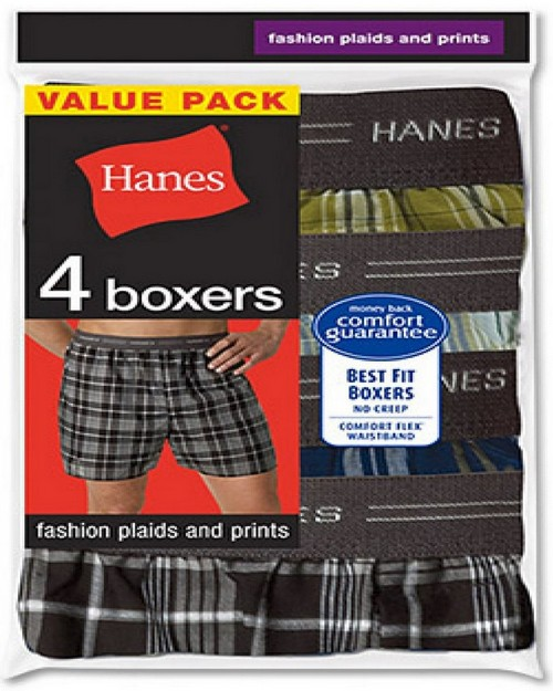 Hanes MWCBX4 Men's Red Label Exposed Waistband Fashion Plaid Boxer